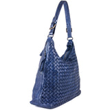 Classic Navy Blue Real Italian Leather Weave Shoulder Bag