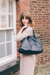 Classic Navy Real Italian Leather Weave Tote Bag - Lifestyle - Amilu