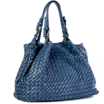 Classic Navy Real Italian Leather Weave Tote Bag - Amilu Handbags