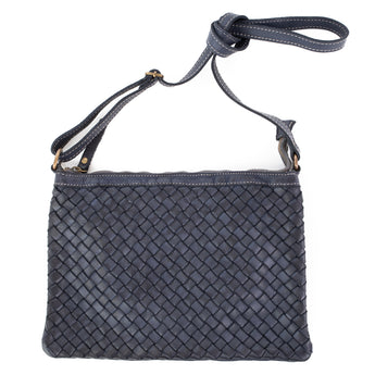 Navy Real Italian Woven Leather Cross Body Bag