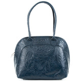 Florens Blue Real Leather Shoulder Tote Bag