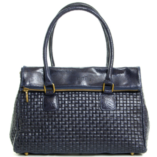 Navy Real Leather Tote Bag