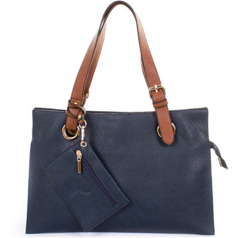 Navy Faux Leather Divided Shopper Bag