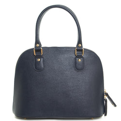 Navy Blue Real Leather Grab Tote Bag - Amilu