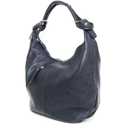 Navy Real Leather Hobo Slouch Bag