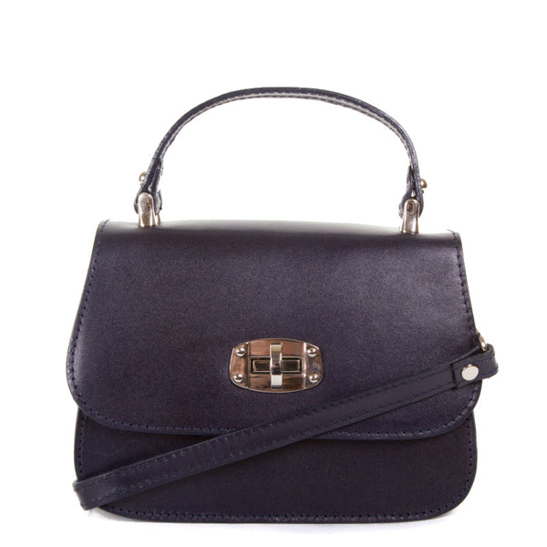 Navy Real Leather Satchel Bag