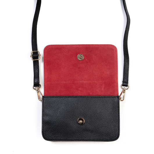 Black and Red Two Tone Leather and Suede Cross Body Bag