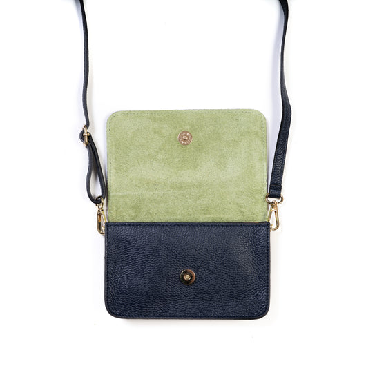 Navy Blue and Green Two Tone Leather and Suede Cross Body Bag