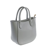 Dark Grey Real Leather Mini Grab Bag - Amilu - Side