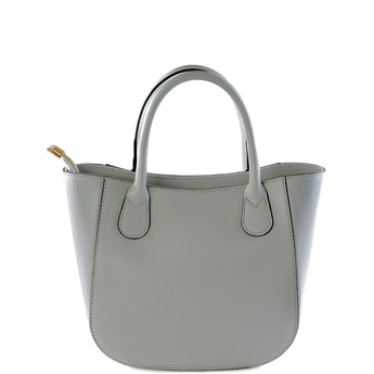 Grey Real Leather Small Grab Bag