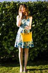 Yellow Real Leather Mini Grab Bag - Lifestyle - Amilu