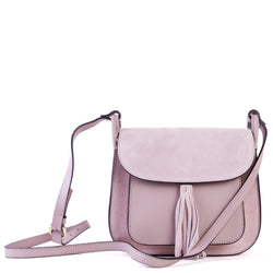 Nude Leather Saddle Cross Body Tassel Bag