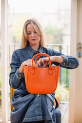 Orange Real Leather Small Grab Bag