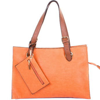 Orange Faux Leather Divided Shopper Bag