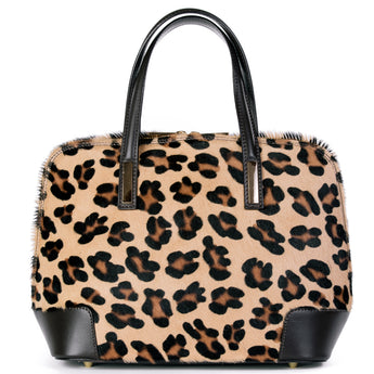 290b4f088887 Leopard Cow Hair   Real Leather Grab Tote Bag