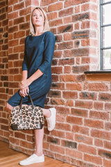 Leopard Cow Hair & Real Leather Grab Tote Bag
