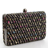 Pink and Black Multi Glitter Tweed Box Clutch Bag