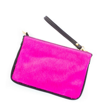 Pink Real Leather & Cow Hair Clutch Bag