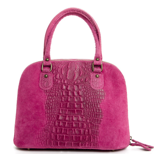 Pink Real Leather Grab Tote Bag - Amilu