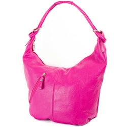 Pink Real Leather Hobo Slouch Bag