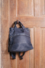 Classic Navy Real Italian Washed Leather Medium Weave Rucksack Bag
