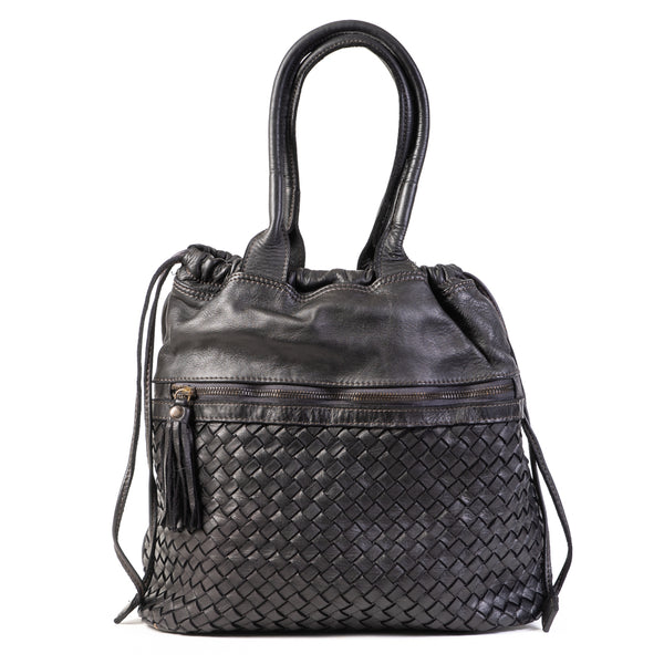 Classic Black Real Italian Washed Leather Medium Weave Rucksack Bag