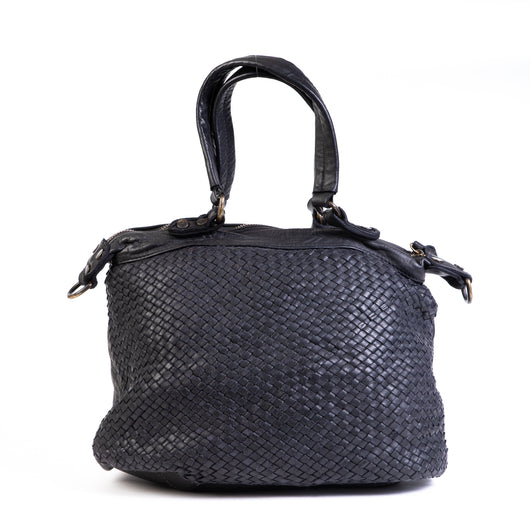 Classic Black Real Italian Washed Leather Medium Weave Tote Bag