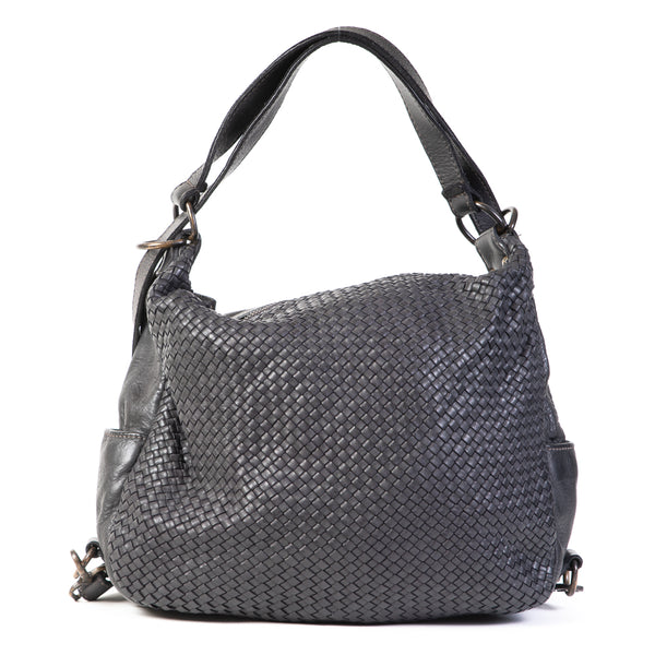 Classic Black Real Italian Washed Leather Weave Convertible Rucksack and Shoulder Bag