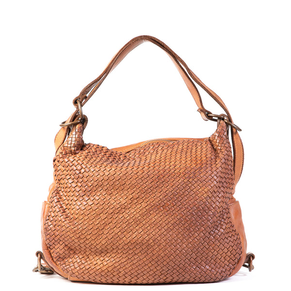 Classic Tan Real Italian Washed Leather Weave Convertible Rucksack and Shoulder Bag