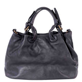 Classic Black Real Italian Laser Cut Leather Tote Bag - Back - Amilu
