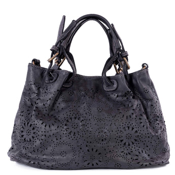Classic Black Real Italian Laser Cut Leather Tote Bag - Amilu