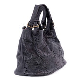Classic Black Real Italian Laser Cut Leather Tote Bag - Side - Amilu