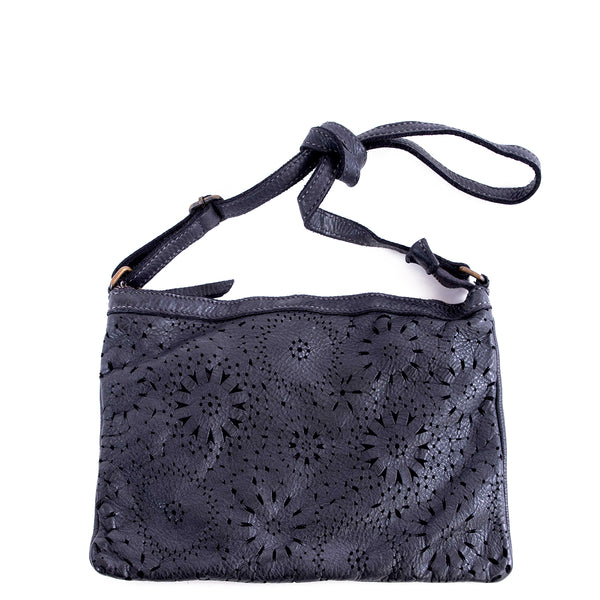 Black Real Italian Laser Cut Leather Cross Body Bag