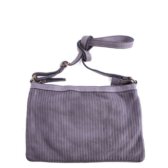Grey Real Italian Scalloped Leather Cross Body Bag - Amilu