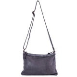 Grey Real Italian Scalloped Leather Cross Body Bag - With Strap - Amilu