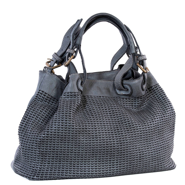 Classic Grey Real Italian Scalloped Leather Tote Bag