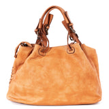 Classic Light Tan Real Italian Woven Leather Tote Bag - Back - Lifestyle