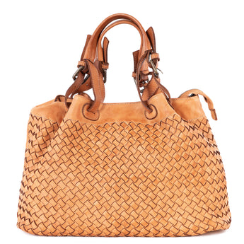 Classic Light Tan Real Italian Woven Leather Tote Bag - Amilu