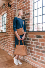 Classic Light Tan Real Italian Woven Leather Tote Bag - Amilu - Lifestyle
