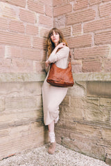 Real Italian Leather Weave Shoulder Bag - Lifestyle - Amilu Handbags