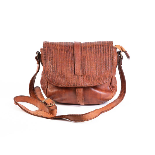 Classic Tan Real Italian Leather Small Saddle Bag