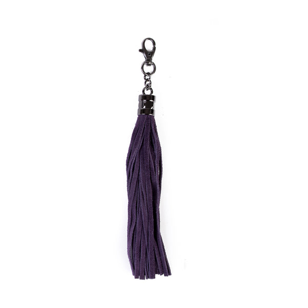 Purple Real Leather Tassel Bag Charm - Amilu