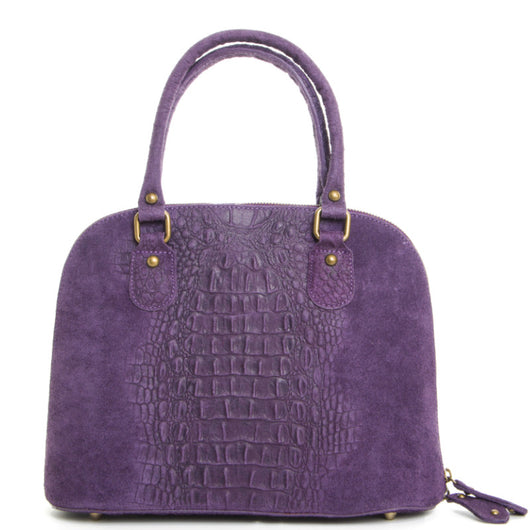 Purple Real Leather Grab Tote Bag - Amilu