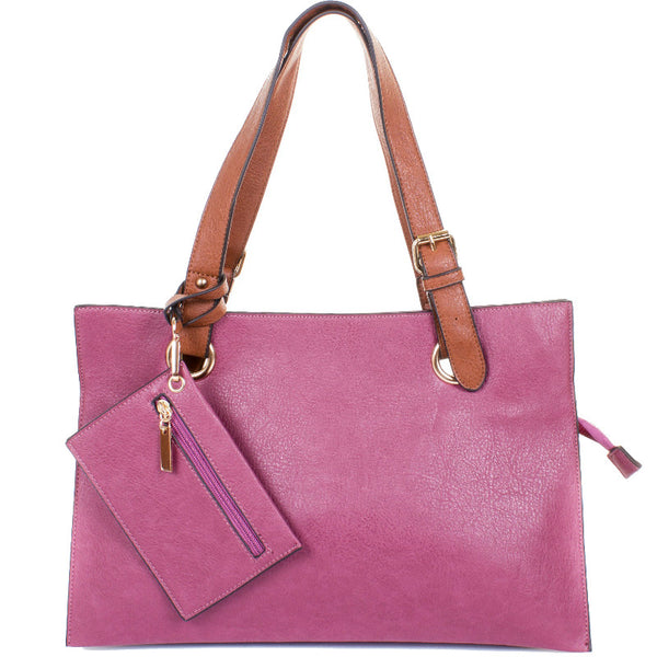 Purple Faux Leather Divided Shopper Bag
