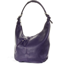 Purple Real Leather Hobo Slouch Bag
