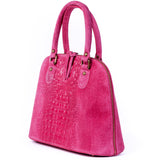 Pink Suede Real Leather Grab Handle Tote Handbag Side