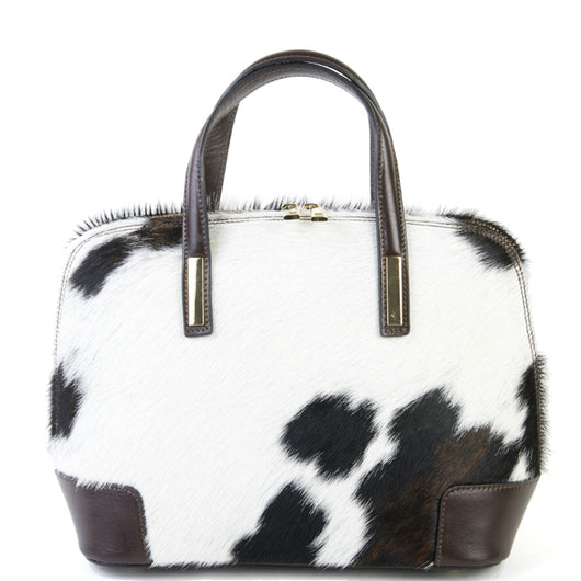 Natural Cow Hair & Real Leather Grab Tote Bag
