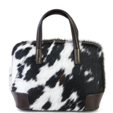 Natural Cow Hair & Real Leather Grab Tote Bag - Amilu