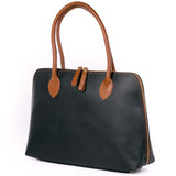 Black and Tan Real Leather Shoulder Tote Bag Side