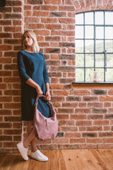 Classic Winter Pink Real Leather Slouch Shoulder Bag - Amilu - Lifestyle